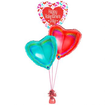 Folie ballonboeket happy valentine's day hearts holographic
