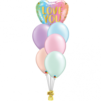 Ballonboeket Love you pastel