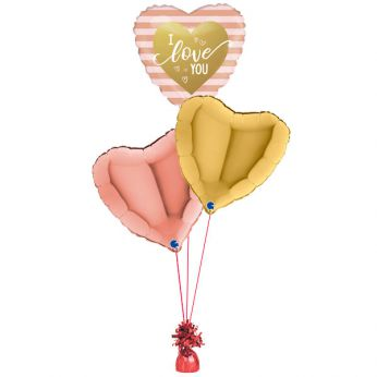 Folie ballonboeket I love you rose/goud