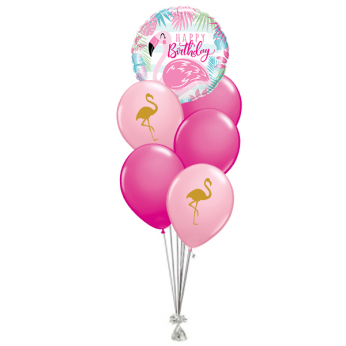 Ballonboeket Happy Birthday Flamingo