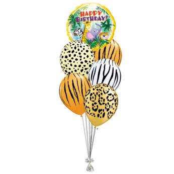 Ballonboeket Happy Birthday Animal Print