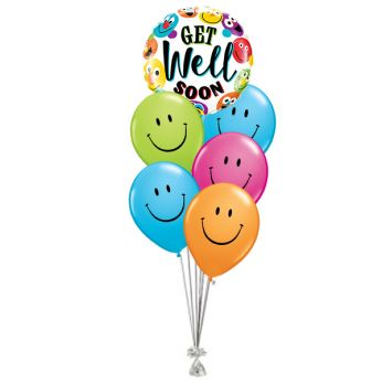 Ballonboeket Get Well Soon Smileys