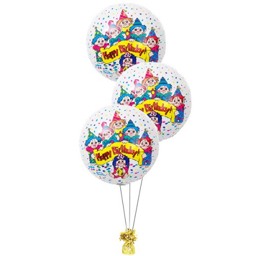 Folie ballonboeket happy birthday Trolls
