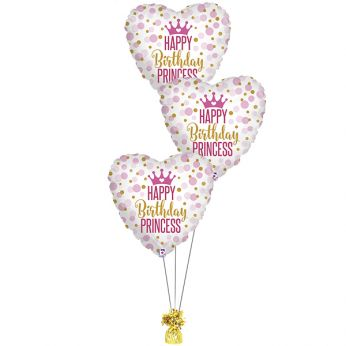Folie ballonboeket Happy birthday princess holographic