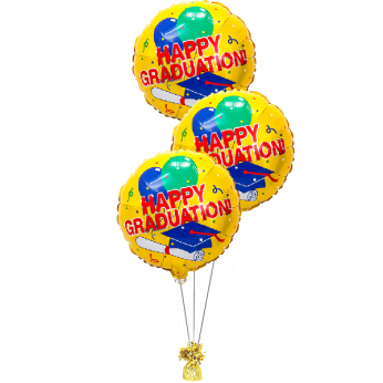 folie ballonboeket happy graduation geel