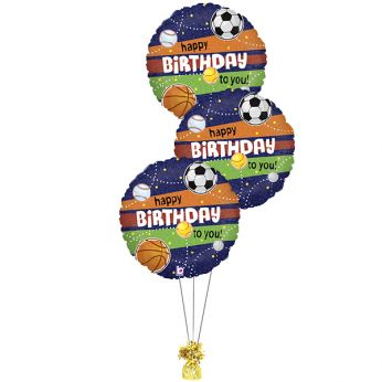Folie ballonboeket happy birthday sport holographic