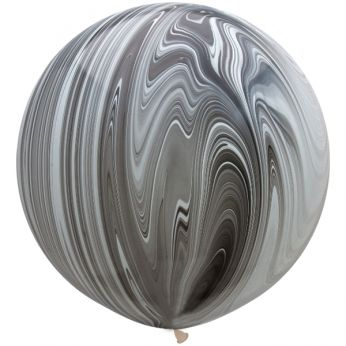 1 x 3ft (90 cm) Marmer Black & White Qualatex Ballon