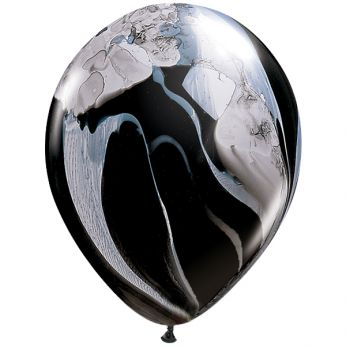 25 Stuks 11 Inch (28 cm) Marmer Black & White Qualatex Ballon