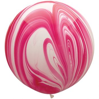 1 x 3ft (90 cm) Marmer Red & White Qualatex Ballon
