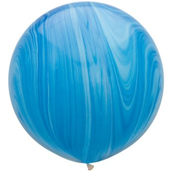 1 x 3ft (90 cm) Marmer Blue Rainbow Qualatex Ballon