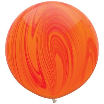 1 x 3ft (90 cm) Marmer Red & Orange Rainbow Qualatex Ballon
