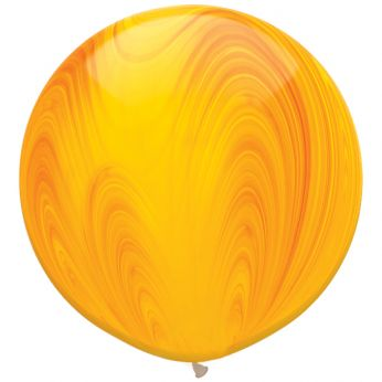 1 x 3ft (90 cm) Marmer Yellow & Orange Rainbow Qualatex Ballon
