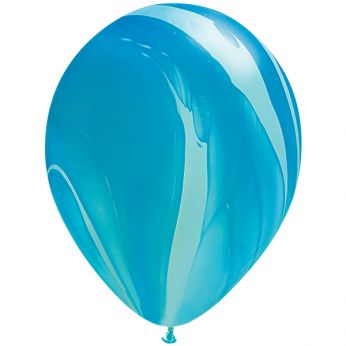 25 Stuks 11 Inch Marmer Blue Rainbow Qualatex Ballon