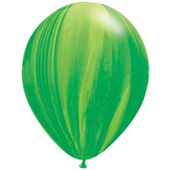 25 Stuks 11 Inch Marmer Green Rainbow Qualatex Ballon