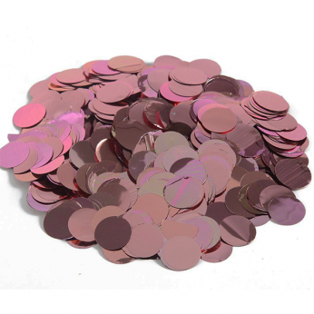 confetti rondjes metallic rose goud - 15 mm