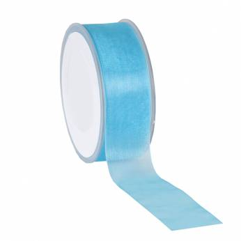 Organza Lint 38mm Turquoise Blauw
