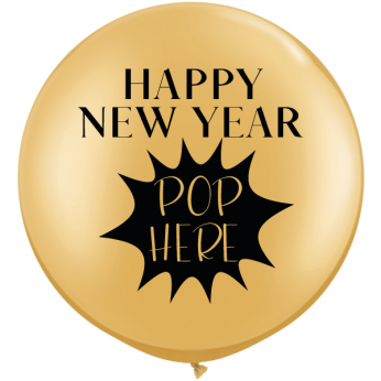 1 x 3ft (90 cm) Gold Happy New Year Pop Here Qualatex Ballon