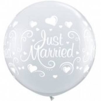 1 x 3ft (90 cm) Diamond Clear Just Married Hearts Qualatex Ballon