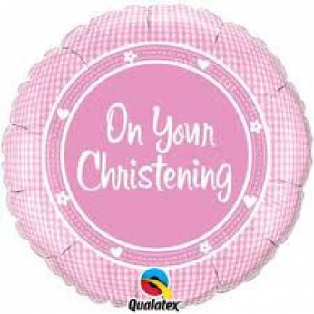 Folieballon On Your Christening Roze