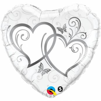 Folieballon Entwined Hearts Zilver