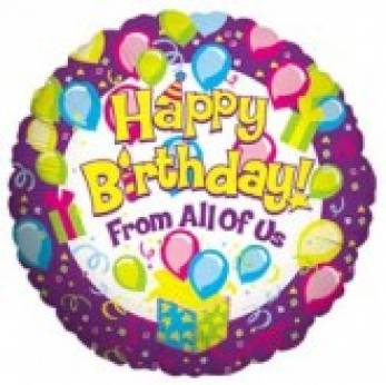 Folieballon Happy Birthday From all of Us