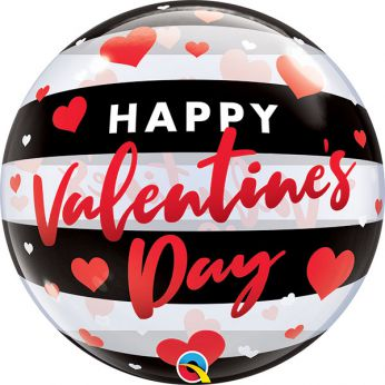 Bubble Ballon Valentine's Day Black Stripes