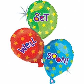 Cluster folieballon met de Tekst: Get well soon