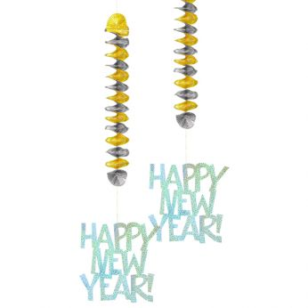 Hangdecoratie Happy New Year 2 Stuks