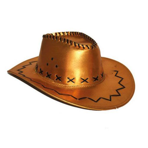 Cowboyhoed lederlook Goud