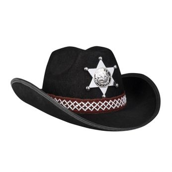 Sheriff Hoed Junior Zwart (kids)