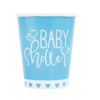 Baby shower blauwe bekers