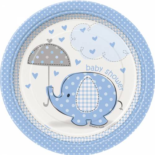 Bordjes Babyshower Blauwe Olifant