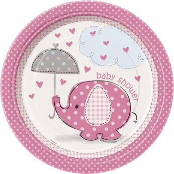 Bordjes Babyshower Roze Olifant