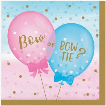 gender reveal servetten - bow or bow tie