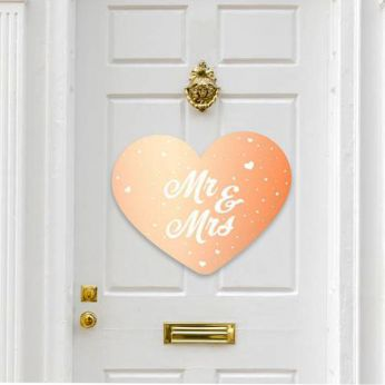 Deurdecoratie Mr & Mrs Rose gold