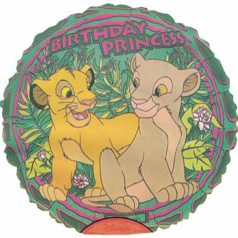 Folieballon Lion King met de Tekst: Birthday Princess