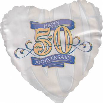 Folieballon met de Tekst: Happy 50th Anniversary