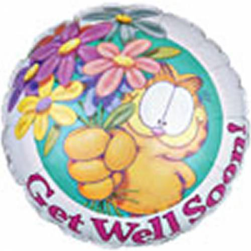 Folieballon Garfield met de Tekst: Get Well Soon