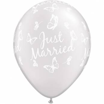 6 stuks 11 inch (28 cm) Pearl White Just Married Butterflies Qualatex Ballonnen