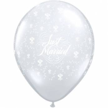 6 stuks 11 inch (28 cm) Diamond Clear Just Married & Flowers Qualatex Ballonnen