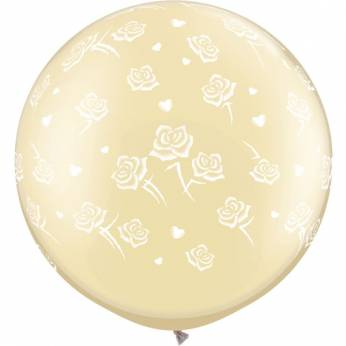 1 x 3ft (90 cm) Pearl Ivory Hearts & Roses Qualatex Ballon