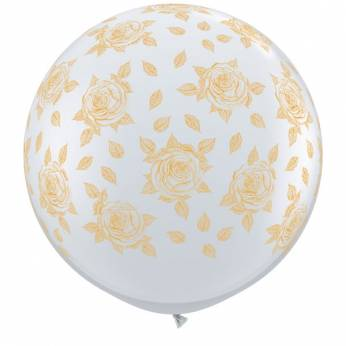1 X 3FT (90 cm) ELEGANT ROSES TRANSPARANT Qualatex ballonnen