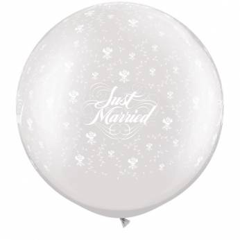 1 x 3ft (90 cm) Pearl White Just Married & Flowers Qualatex Ballon