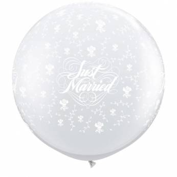 1 x 3ft (90 cm) Diamond Clear Just Married & Flowers Qualatex Ballon