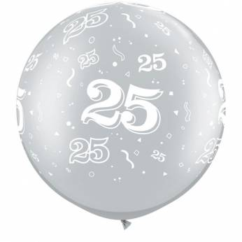 1 X 3FT (90 cm) Silver 25 Qualatex Ballon