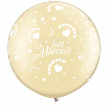 1 x 3ft (90 cm) Pearl Ivory Just Married & Hearts Qualatex Ballon