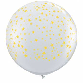 1 x 3ft (90 cm) Diamond Clear Gold Stars Qualatex Ballon