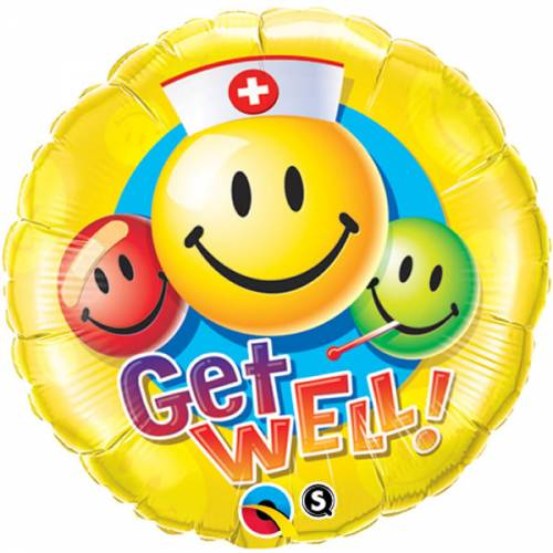 Folieballon Smile met de Tekst: Get well