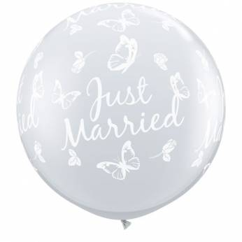 1 x 3ft (90 cm) Diamond Clear Just Married Butterflies Qualatex Ballon