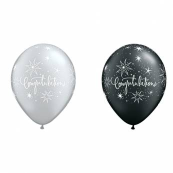 6 Stuks 11 inch (28 cm) Black & Silver Congratulations & Stars Qualatex Ballon